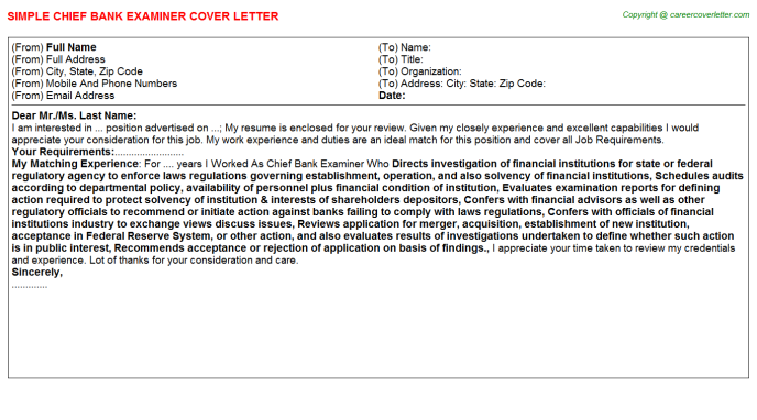 Chief Bank Examiner Job Cover Letter Sample