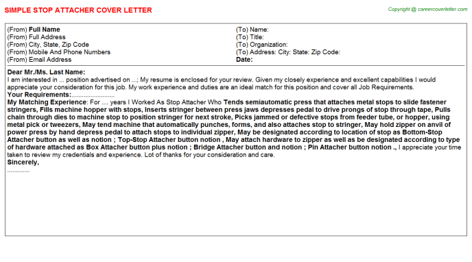 Stop Attacher Cover Letter Template