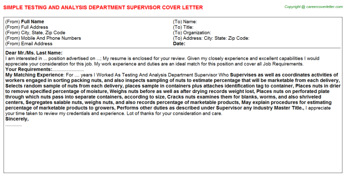 testing and analysis department supervisor cover letter template