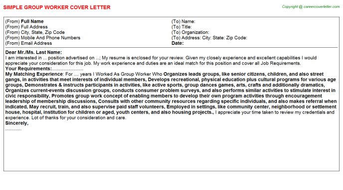 Childcare Group Leader Job Cover Letters