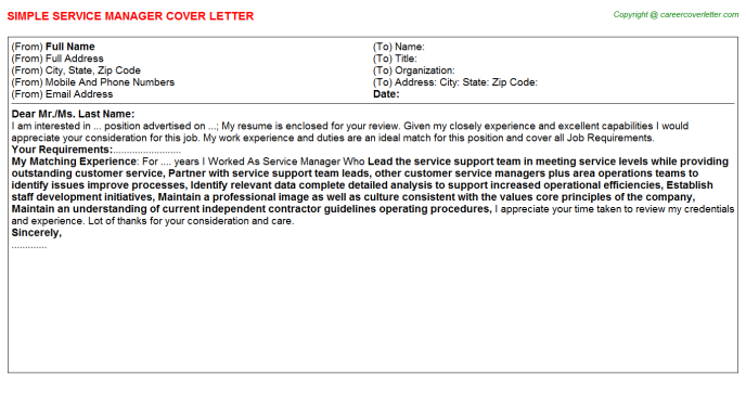 Service Manager Cover Letter Template