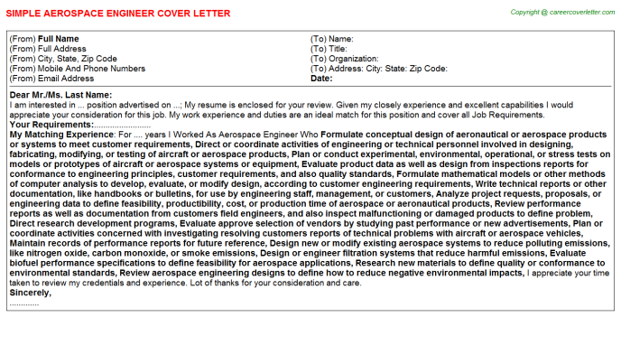 Aerospace Engineer Job Cover Letter