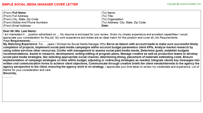 Social Media Manager Cover Letter Template