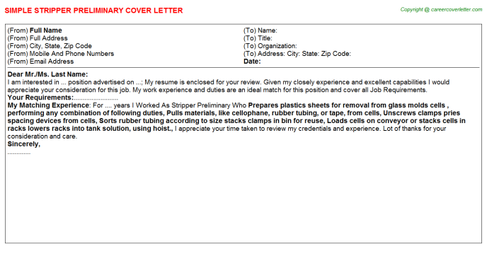 Stripper Preliminary Cover Letter Template