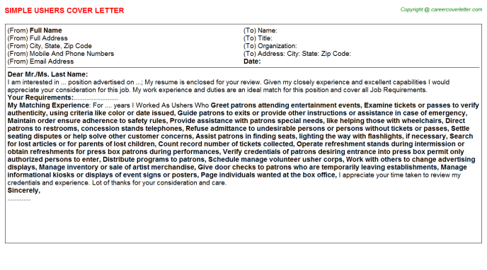 Ushers Cover Letter Template