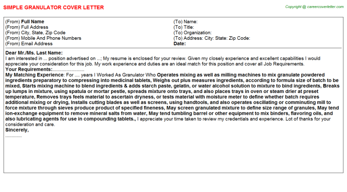 Granulator Job Cover Letter Template