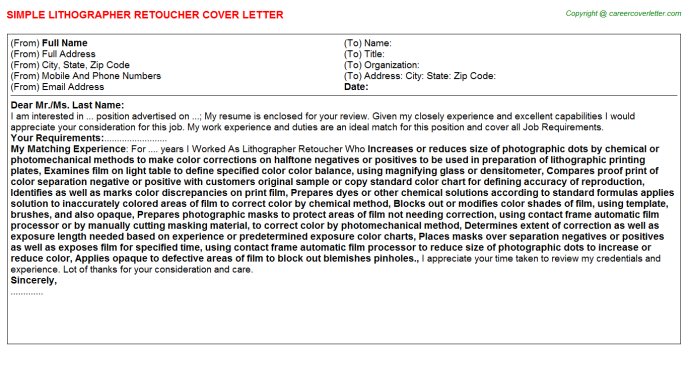 Lithographer Retoucher Job Cover Letter Template