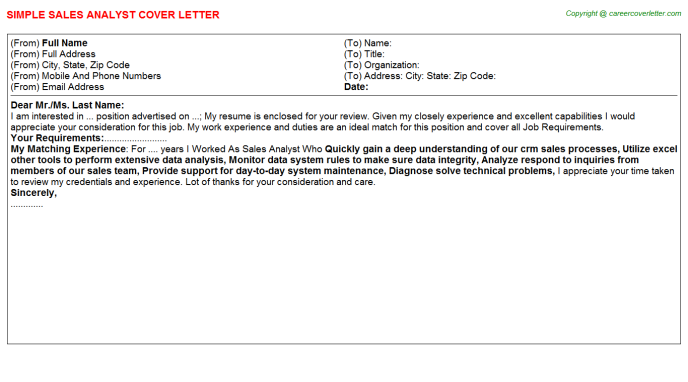 Sales Analyst Cover Letter Template