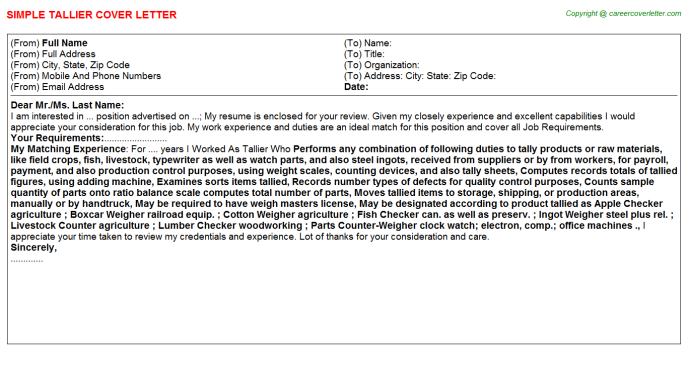 Tallier Cover Letter Template