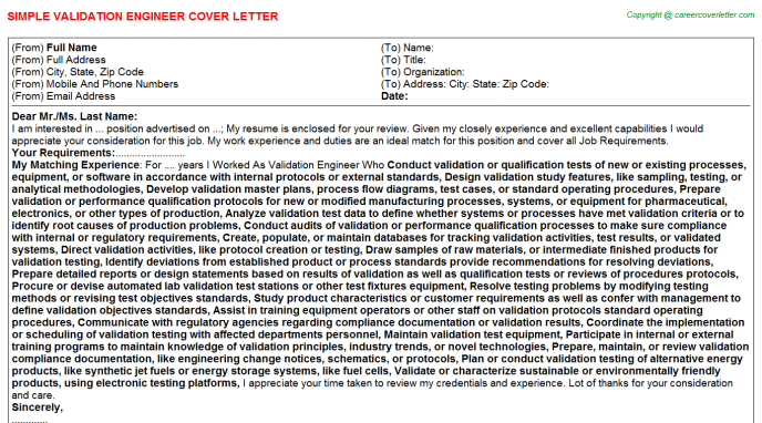 Validation Engineer Cover Letter