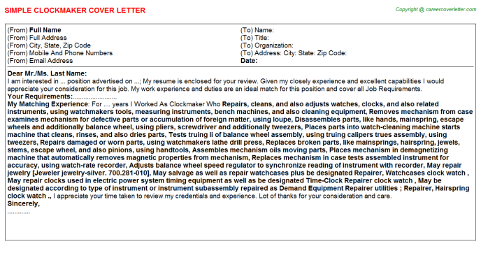 Clockmaker Cover Letter Template