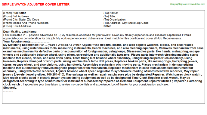 Bodily Injury Claims Adjuster Cover Letters