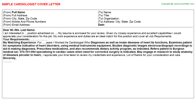 Cardiologist Cover Letter Template
