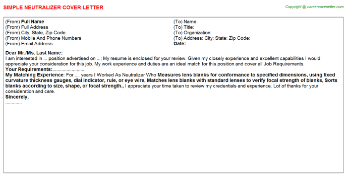 Neutralizer Cover Letter Template