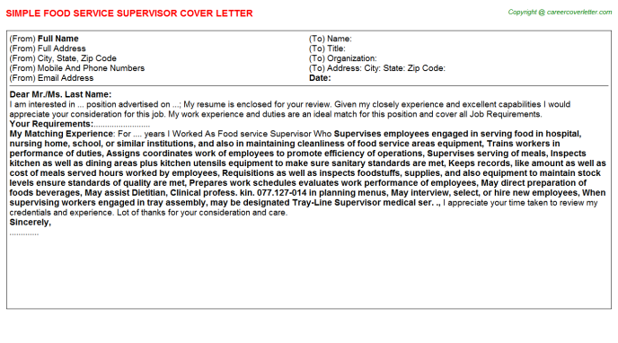 Food Service Supervisor Job Cover Letter