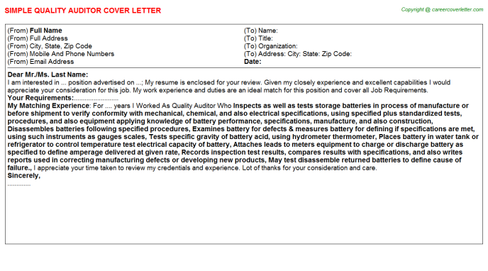 Quality Auditor Job Cover Letter