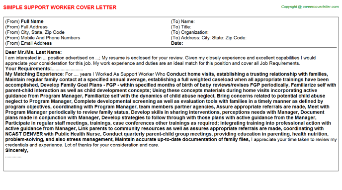 Support Worker Job Cover Letter Sample
