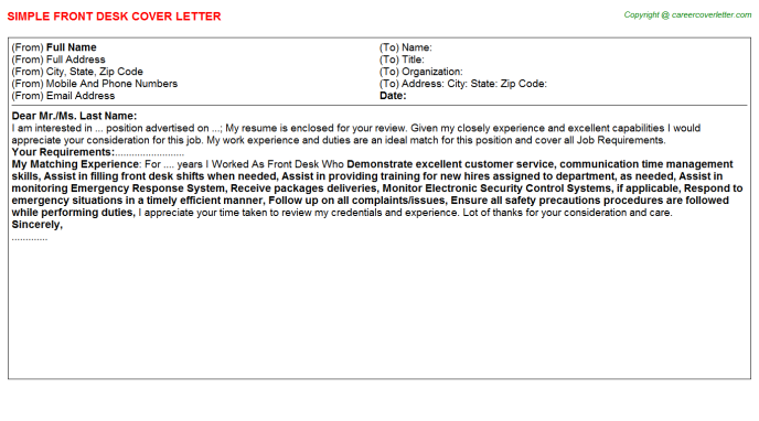 Front Desk Job Cover Letter