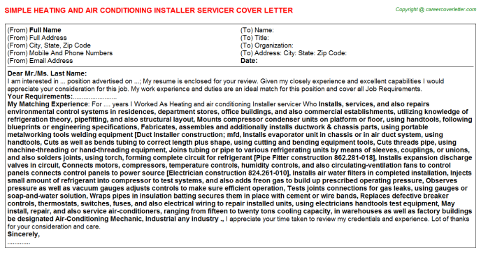 Heating and air conditioning Installer servicer Cover Letter Template