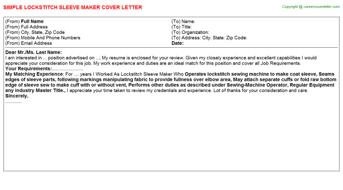 Lockstitch Sleeve Maker Cover Letter