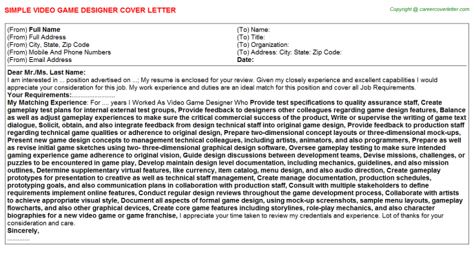 Video Game Designer Cover Letters