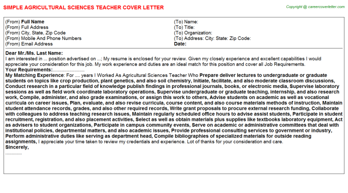 Agricultural Sciences Teacher Cover Letter Template