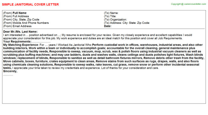 Janitorial Job Cover Letter Template