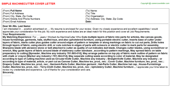 Machinecutter Job Cover Letter Template