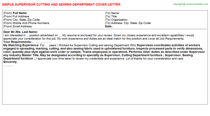 Sewing Specialist Cover Letters Examples | Job Cover Letters