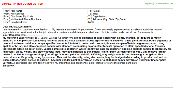 Tinter Cover Letter Template