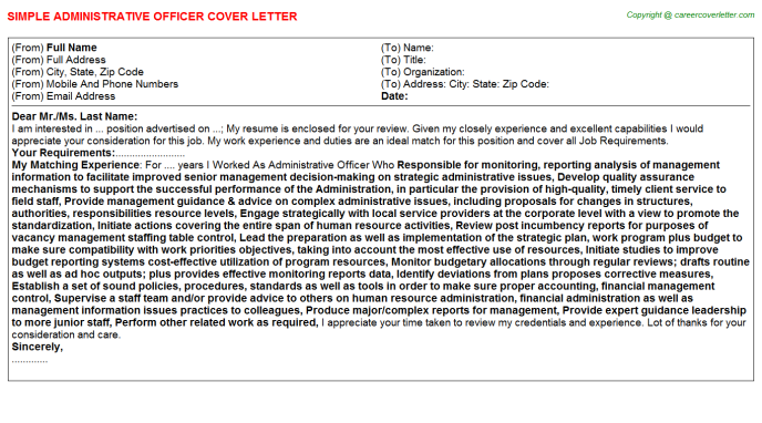 Administrative Officer Job Cover Letter Template