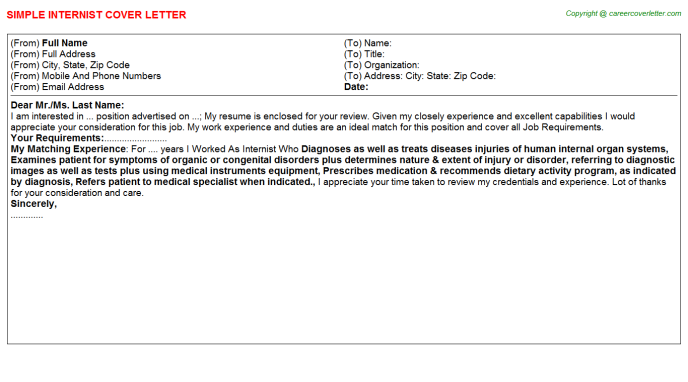 Internist Job Cover Letter Template