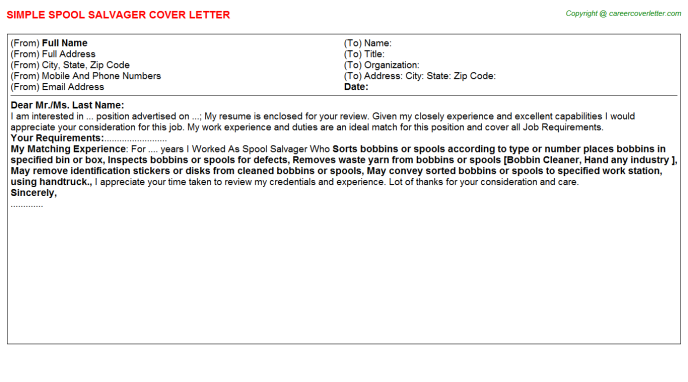Spool Salvager Cover Letter Template