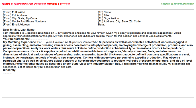Supervisor Veneer Job Cover Letter Template