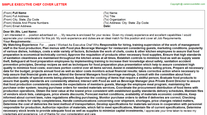 Executive Chef Cover Letter Template