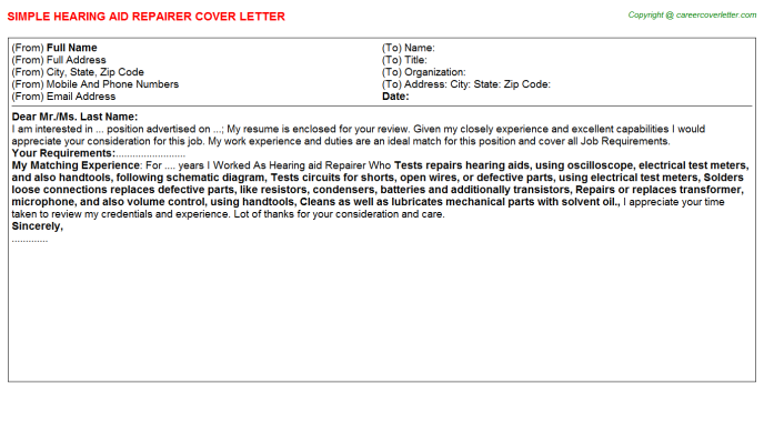 Hearing Aid Repairer Job Cover Letters Examples