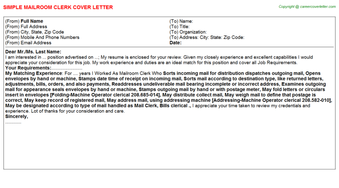 Mailroom Clerk Job Cover Letter Example