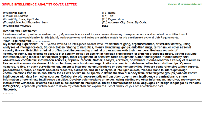 Intelligence Analyst Job Cover Letter Example