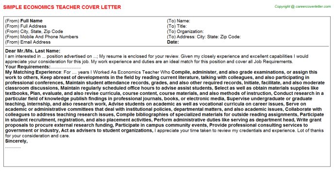 Economics Teacher Cover Letter Template