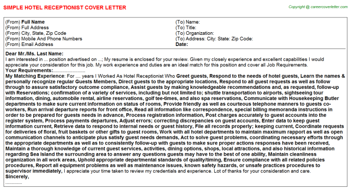 Hotel Receptionist Cover Letter Template