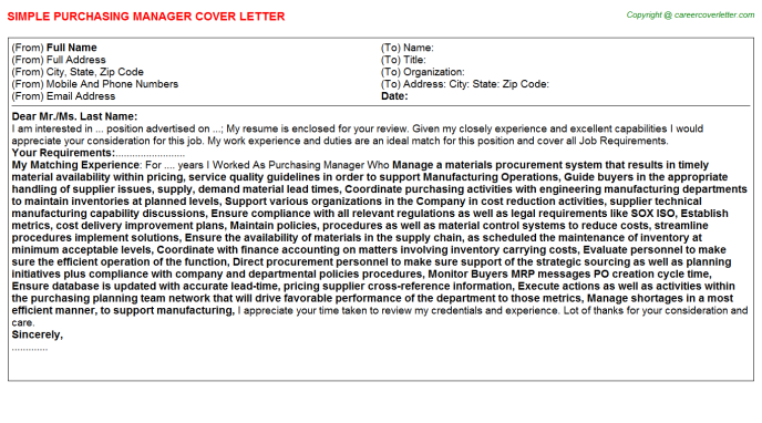 purchasing manager cover letter template