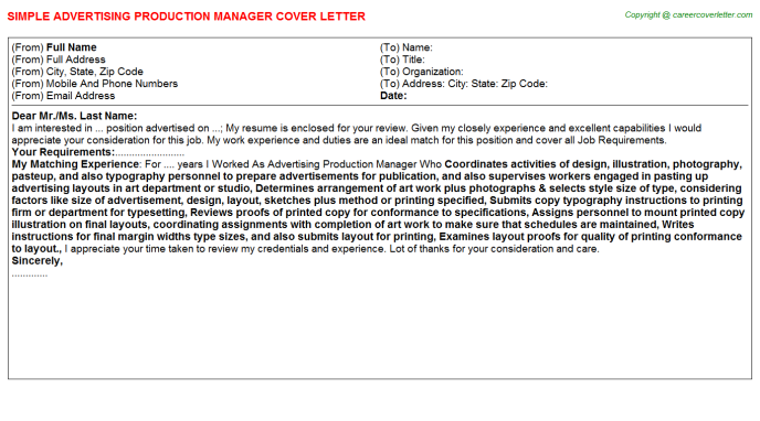 Advertising Production Manager Cover Letters