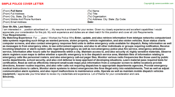 Police Job Cover Letter Template