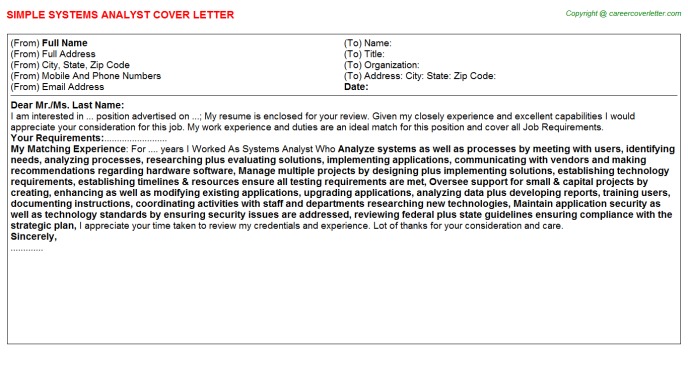 Systems Analyst Cover Letter Template