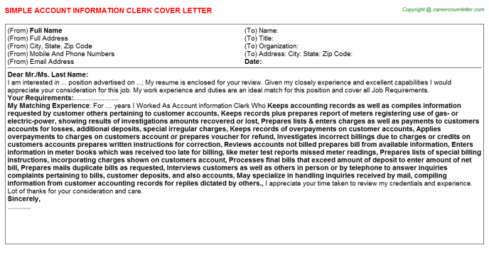 Account Information Clerk Job Cover Letter Template