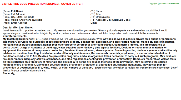 Fire Loss Prevention Engineer Job Cover Letter Template