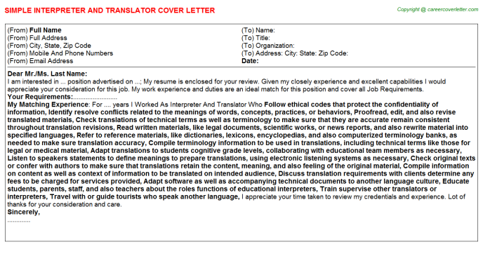 Interpreter And Translator Job Cover Letter Template