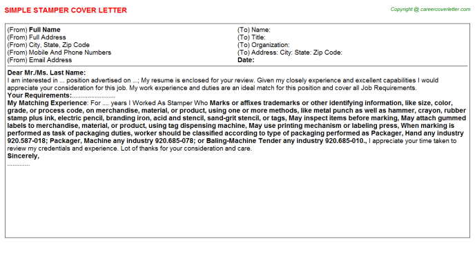 Stamper Cover Letter Template