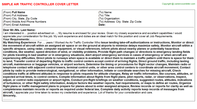 Air Traffic Controller Job Cover Letter