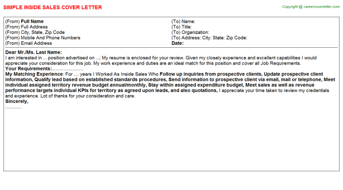 Inside Sales Cover Letter Template